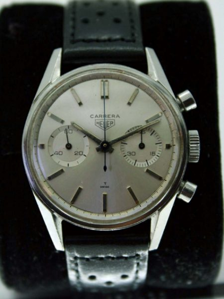 Vintage c1964 Carrera 45 Valjoux 92 Chronograph Ref 3647 From Estate of a US Embassy Diplomat in 1960's Paris All Stainless Steel Screw-Back Case Original Silvered Perfect Dial
