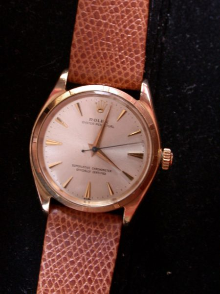 c.1959 Beautiful Solid Gold Oyster Perpetual Chronometer with Engine-Turned Bezel