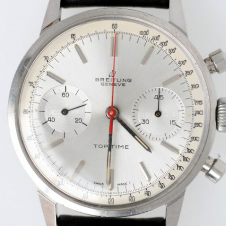 c.1967 Top Time Geneve Ref. 2002 with Silver Dial and Two Sub-Dials and Rare Original Red Central Chronograph Hand In Superb Original Condition