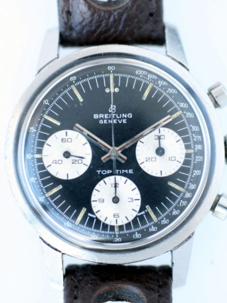 c1967 Top Time Geneve Chronograph Reference 810 with Rare Black Dial with Three White Sub-dials in All Stainless Steel Case on NOS Rally Strap with Vintage Breitling Steel Buckle