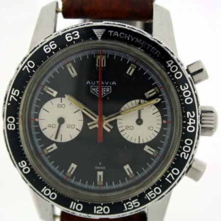 c1969 Autavia 30 7763C Chronograph Tachymeter Bezel 2nd Generation All Steel Snap-Back Autavia Signed Case Heuer Signed Winding Crown. Manual Valjoux Movement. Heuer Buckle