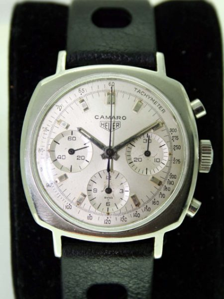 c1969 Camaro Chronograph Ref. 7220 All White Dial All Steel Screw-Back Case Heuer Signed Crown Valjoux 72 manual Winding Movement 1960's NOS Tropic Sport Strap