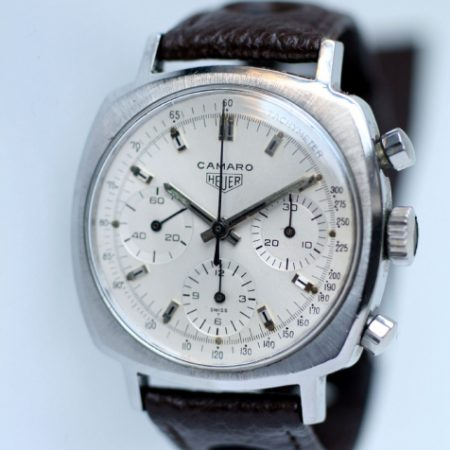 c1969 Camaro Valjoux 72 Chronograph All White Tachymeter Dial All Steel Screw-Back Case Ref. 7220  Heuer signed Valjoux 72 Manual Winding Movement on Vinatge Big Hole Rally Strap