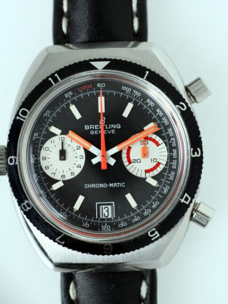 c1969 Geneve Chrono-Matic Cal. 11 Automatic Chronograph with Mint Condition Bi-Directional Bezel on Black and White Stitched Strap with Steel Buckle