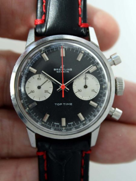 c1969 Top Time Geneve Reverse Panda Dial Chronograph Ref. 2002-33 Original Black Dial  with Two Silver Sub-Dials with Original Rare Red Central Chronograph Hand Very Attractive Watch