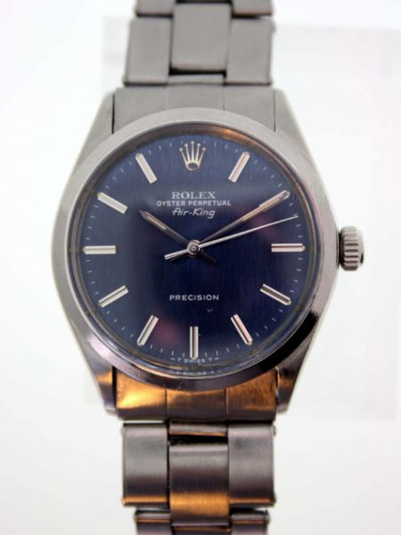 c1972/1973 Air King Oyster Perpetual Precision Original Blue Dial with Unusual White Block Hour Markers. Vintage Rolex Stainless Steel Bracelet. High Quality 26 Jewel Rolex Cal. 1570 Automatic Movement